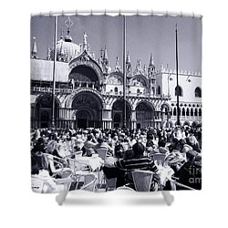 Jazz In Piazza San Marco Black And White  Shower Curtain