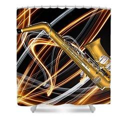 Jazz Saxaphone  Shower Curtain by Louis Ferreira