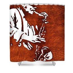 Jazz Saxofon Player Coffee Painting Shower Curtain