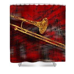 Jazz Trombone Shower Curtain by Jack Zulli