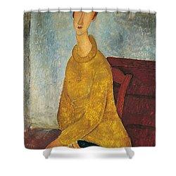 Jeanne Hebuterne In Yellow Sweater Shower Curtain by Amedeo Modigliani