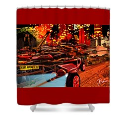Jed Cooper Junk Yard Shower Curtain by Gerry Robins