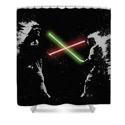 Jedi Duel Shower Curtain by George Pedro
