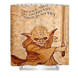 Jedi Yoda Wisdom Shower Curtain by Georgeta  Blanaru