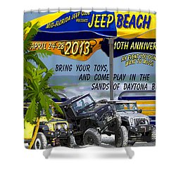 Shower Curtain featuring the photograph Jeep Beach 2013 Welcomes All Jeepers by DigiArt Diaries by Vicky B Fuller
