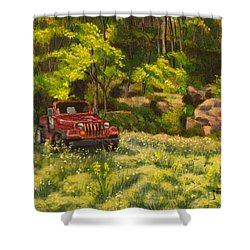 Jeep By The Bluff Shower Curtain by Janet Felts