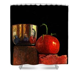 Jefferson Cup With Tomato And Sedona Bricks Shower Curtain by Catherine Twomey