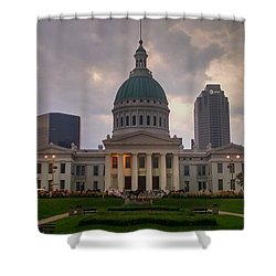 Shower Curtain featuring the photograph Jefferson Memorial Bldg by Chris Tarpening