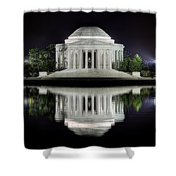 Jefferson Memorial - Night Reflection Shower Curtain