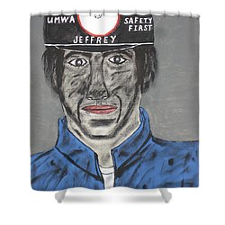 Shower Curtain featuring the painting Jeffrey The Coal Miner by Jeffrey Koss