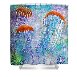 Jellies Shower Curtain by Janet Immordino
