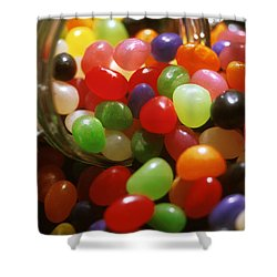 Jelly Beans Spilling Out Of Glass Jar Shower Curtain by Anonymous