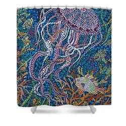 Jellyfish 2 Shower Curtain by Erika Pochybova