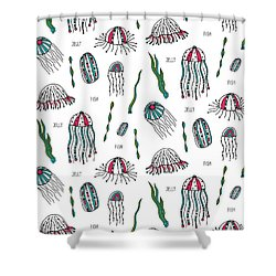 Jellyfish Repeat Print Shower Curtain by Susan Claire