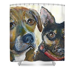 Shower Curtain featuring the painting Jena And Dozer  by Bernadette Krupa