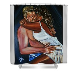 Jenny And Rene - Interracial Lovers Series Shower Curtain