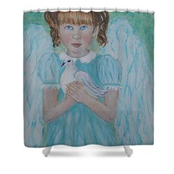 Jenny Little Angel Of Peace And Joy Shower Curtain by The Art With A Heart By Charlotte Phillips