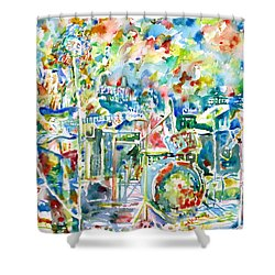 Jerry Garcia And The Grateful Dead Live Concert - Watercolor Portrait Shower Curtain by Fabrizio Cassetta