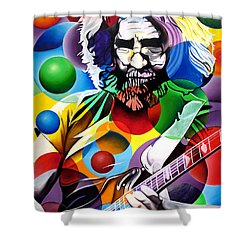 Jerry Garcia In Bubbles Shower Curtain by Joshua Morton