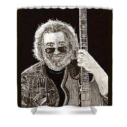 Jerry Garcia String Beard Guitar Shower Curtain