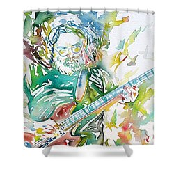 Jerry Garcia Playing The Guitar Watercolor Portrait.1 Shower Curtain by Fabrizio Cassetta