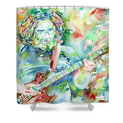 Jerry Garcia Playing The Guitar Watercolor Portrait.3 Shower Curtain by Fabrizio Cassetta