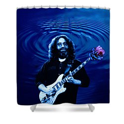 Blue Ripple Rose Shower Curtain by Ben Upham