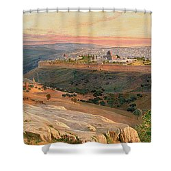 Jerusalem From The Mount Of Olives Shower Curtain by Edward Lear