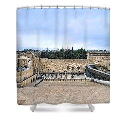 Jerusalem The Western Wall Shower Curtain by Ron Shoshani