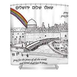 Shower Curtain featuring the painting Jerusalem With Rainbow by Linda Feinberg