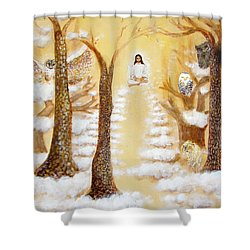 Jesus Art - The Christ Childs Asleep Shower Curtain by Ashleigh Dyan Bayer