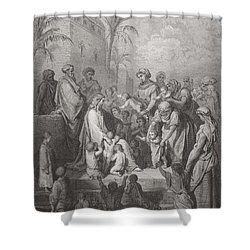 Jesus Blessing The Children Shower Curtain by Gustave Dore