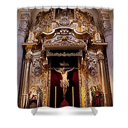 Jesus Christ On The Cross Reredos In Seville Cathedral Shower Curtain by Artur Bogacki