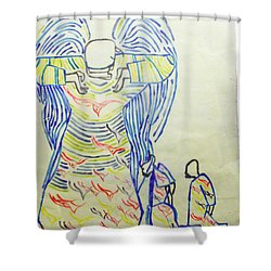 Jesus Guardian Angel Shower Curtain by Gloria Ssali