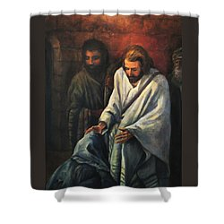 Jesus Healing Beggar Shower Curtain
