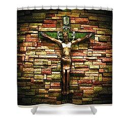 Jesus Is His Name Cream Border Shower Curtain