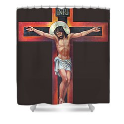 Jesus On The Cross Shower Curtain by Zorina Baldescu