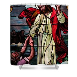 Jesus Rescues Peter From The Sea Shower Curtain by Kim Bemis
