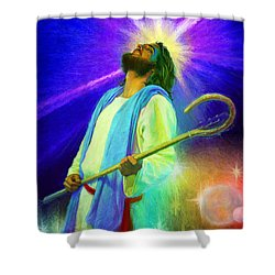 Jesus Rocks Shower Curtain by Rob Corsetti