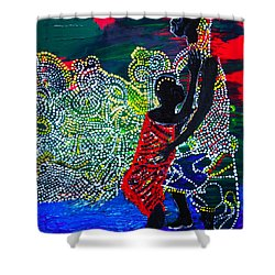 Shower Curtain featuring the painting Jesus Walking On Water by Gloria Ssali