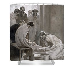 Jesus Washing The Feet Of His Disciples Shower Curtain by Albert Gustaf Aristides Edelfelt