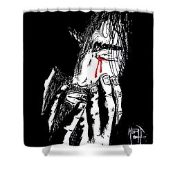 Jesus Wept Red Tears Shower Curtain by Justin Moore