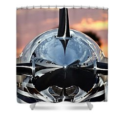 Airplane At Sunset Shower Curtain by Carolyn Marshall