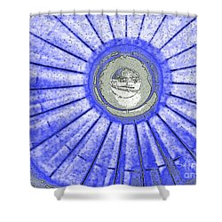 Jet Engine In Blue Abstract Shower Curtain by Sally Simon