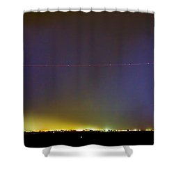 Jet Over Colorful City Lights And Lightning Strike Panorama Shower Curtain by James BO  Insogna