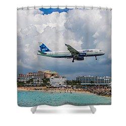 jetBlue in St. Maarten Shower Curtain