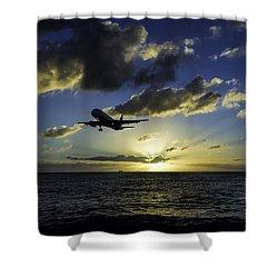 jetBlue landing at St. Maarten Shower Curtain