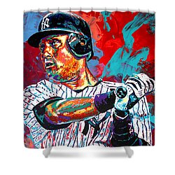 Jeter At Bat Shower Curtain by Maria Arango