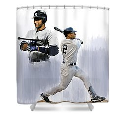 Jeter V Derek Jeter Shower Curtain by Iconic Images Art Gallery David Pucciarelli