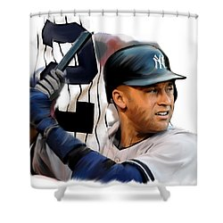 Jeter II  Derek Jeter Shower Curtain by Iconic Images Art Gallery David Pucciarelli